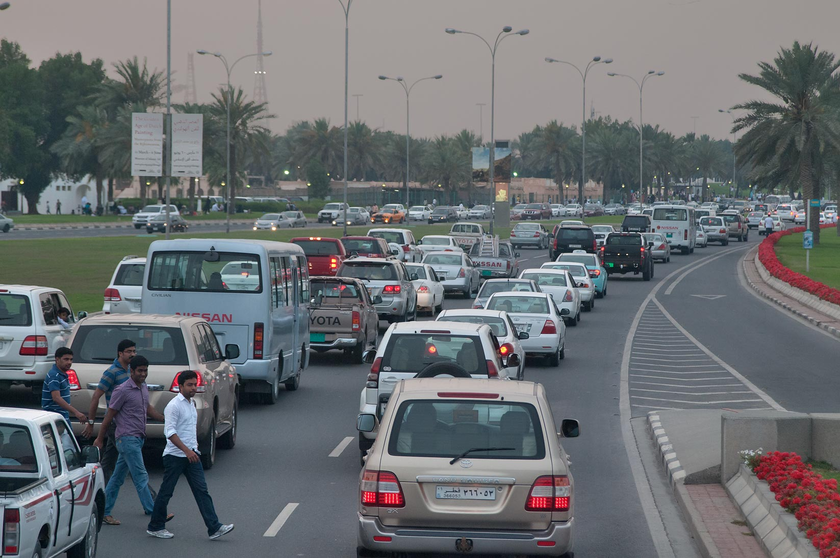Heavy traffic on Corniche road, view from a window of a bus No. 76. Doha, Qatar