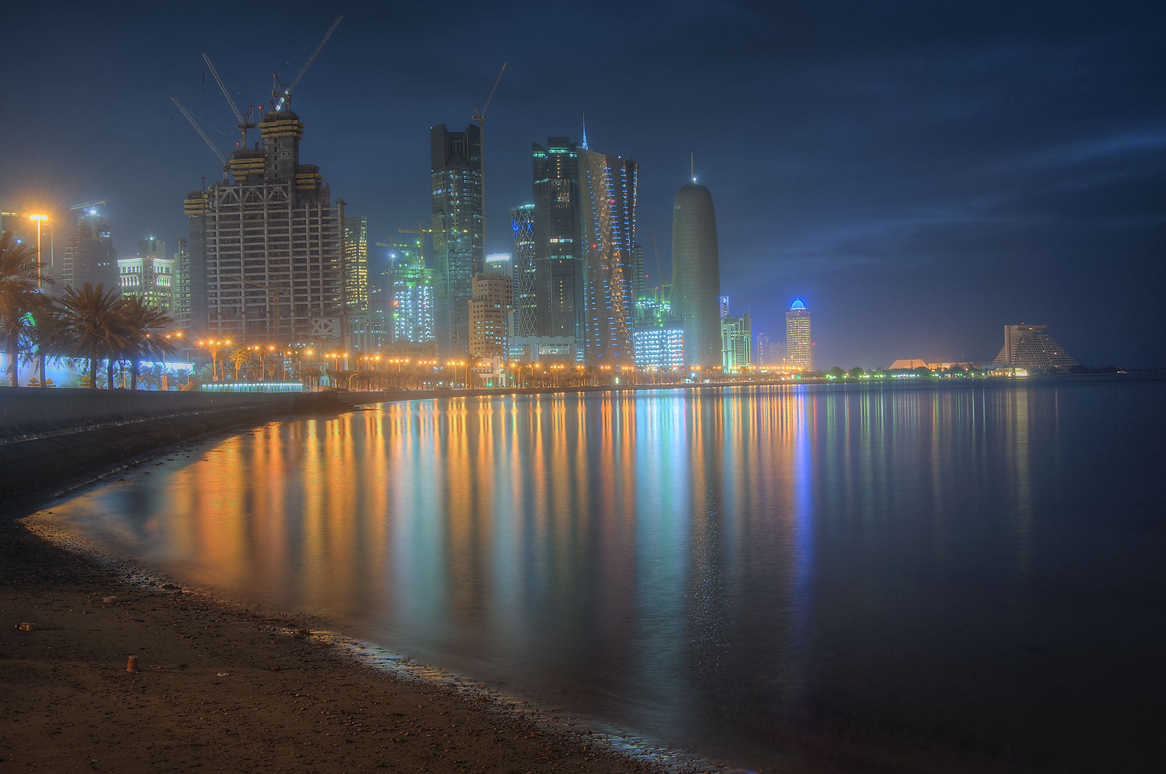 West Bay lights from Corniche. Doha, Qatar