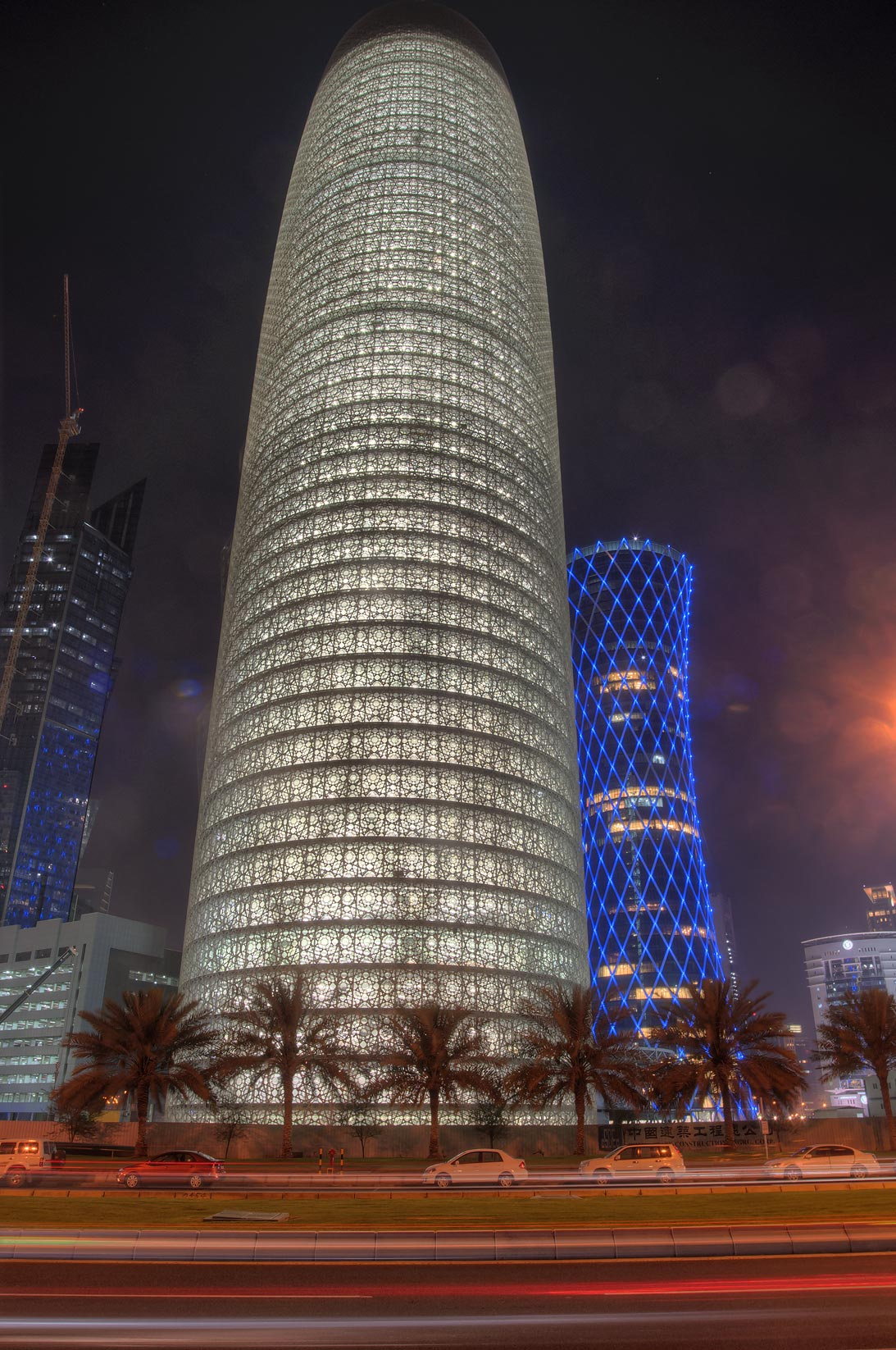 Illuminated Burj Qatar Tower (with lights turned...in West Bay from Corniche. Doha, Qatar