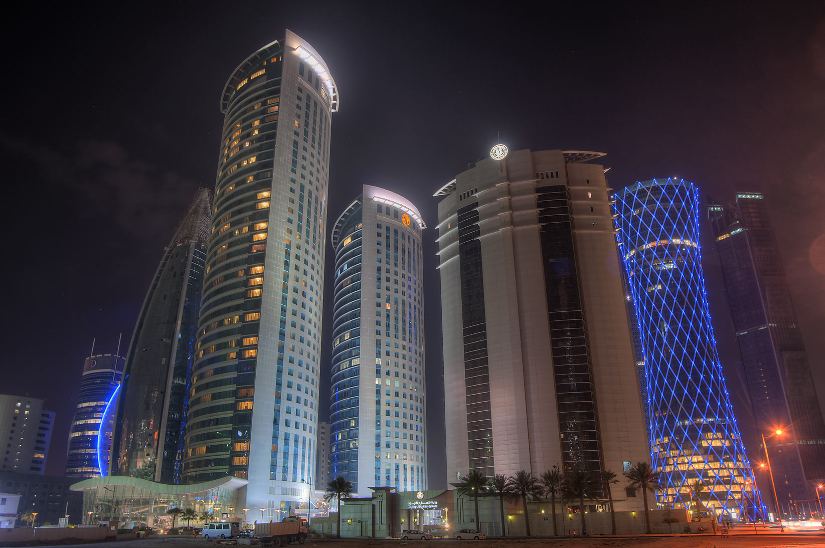 Office buildings in West Bay at evening, view...of City Center Mall. Doha, Qatar