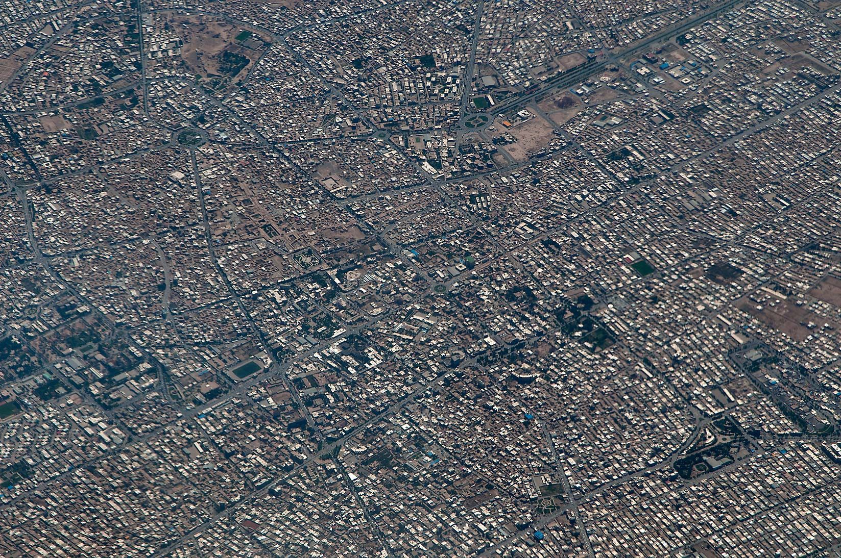 A city in southern Iran, near Kerman. View from a...a plane from Dubai, UAE to Houston, TX
