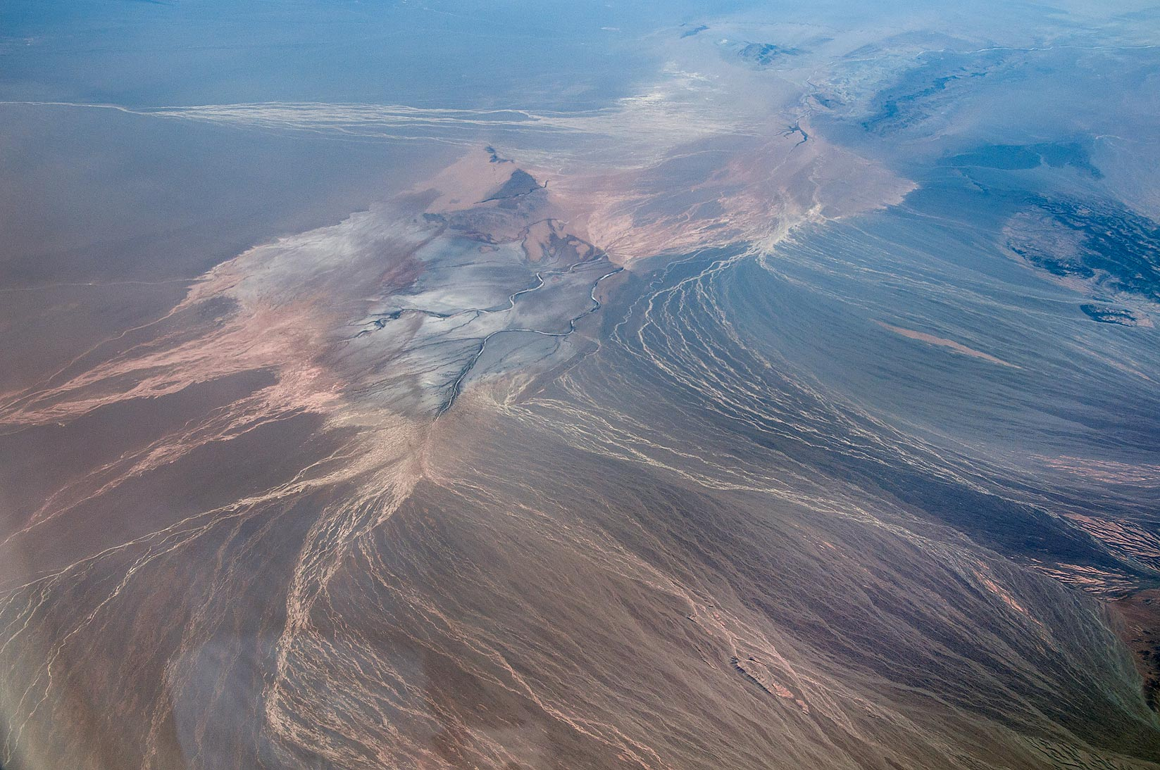 Desert in Iran, north-east of Ravar. View from a...a plane from Dubai, UAE to Houston, TX