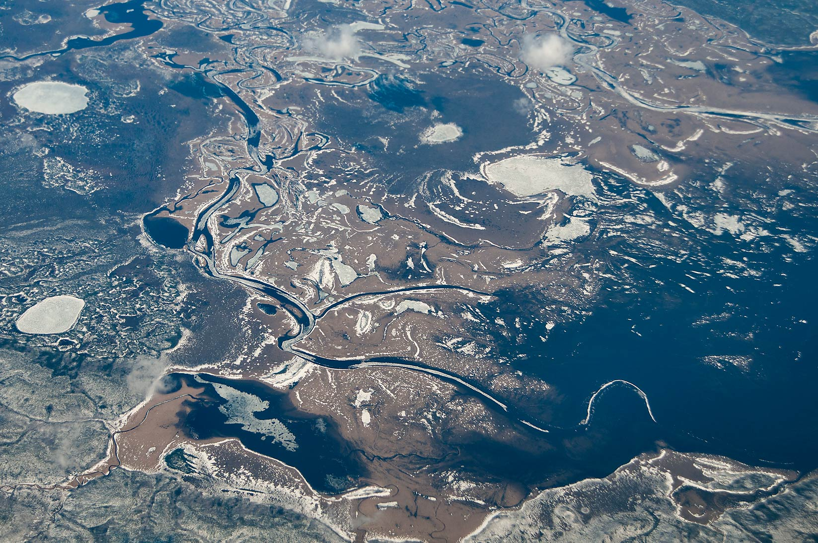 Delta of Ob River in Siberia, Russia, south from...a plane from Dubai, UAE to Houston, TX