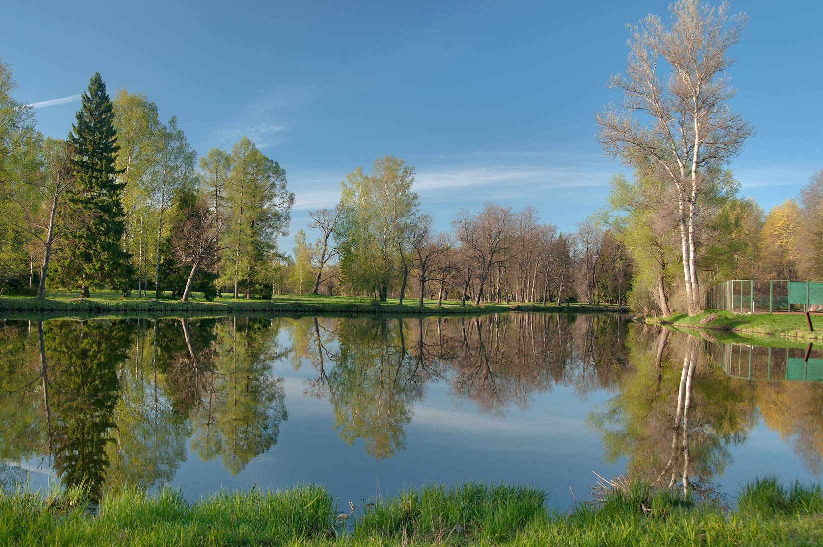 Vokzalny Pond of the park in Pavlovsk, suburb of St.Petersburg. Russia