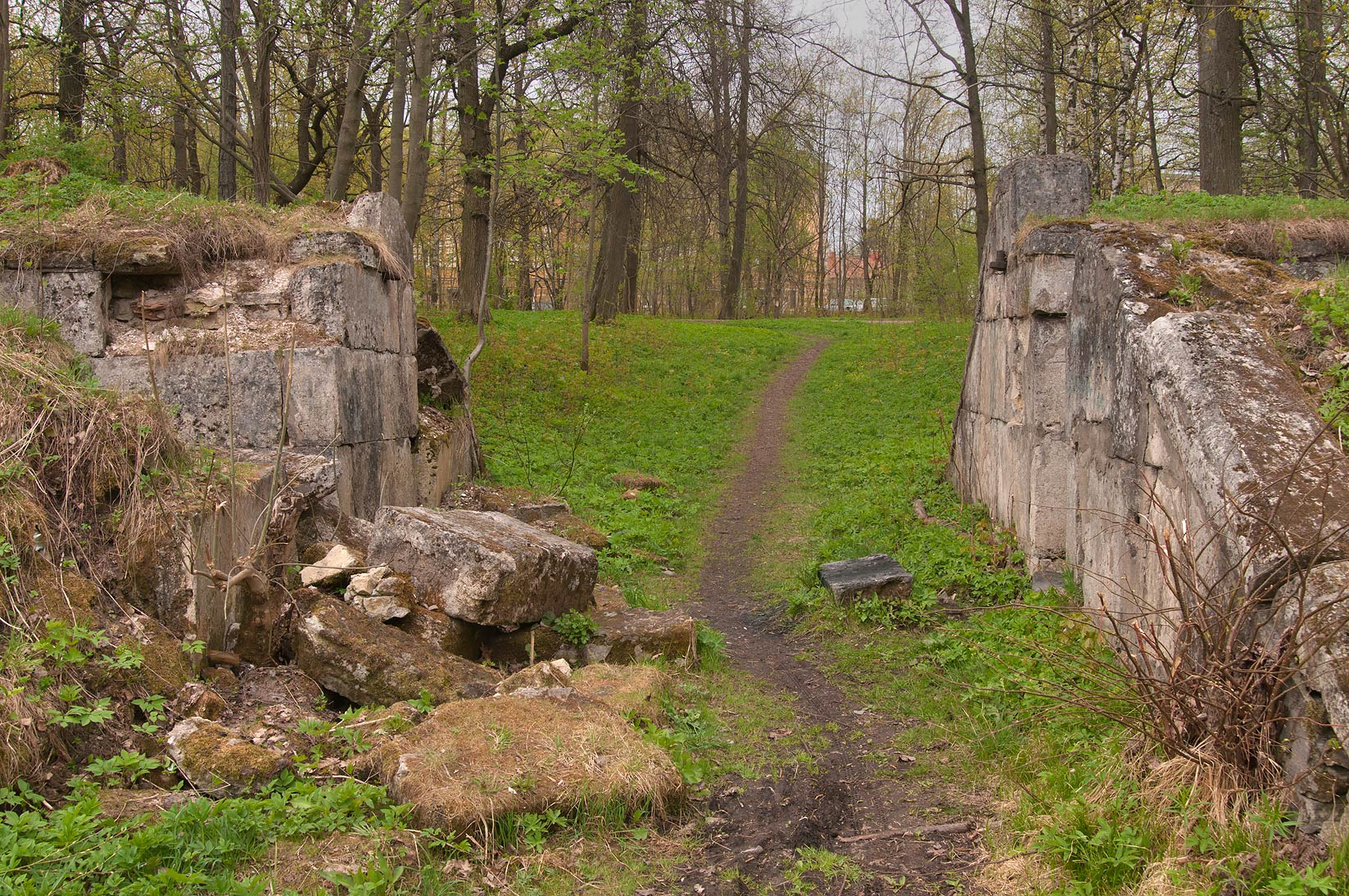 Ruins of amphitheater in Gatchina Park, suburb of St.Petersburg. Russia