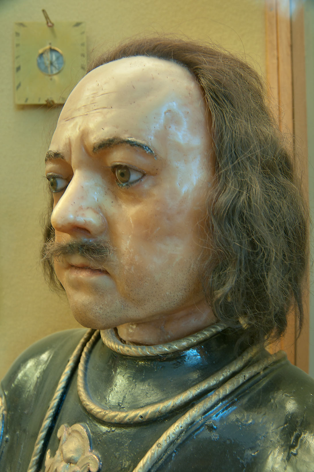 Wax replica of a head of Russian tsar Peter the...Museum. St.Petersburg, Russia