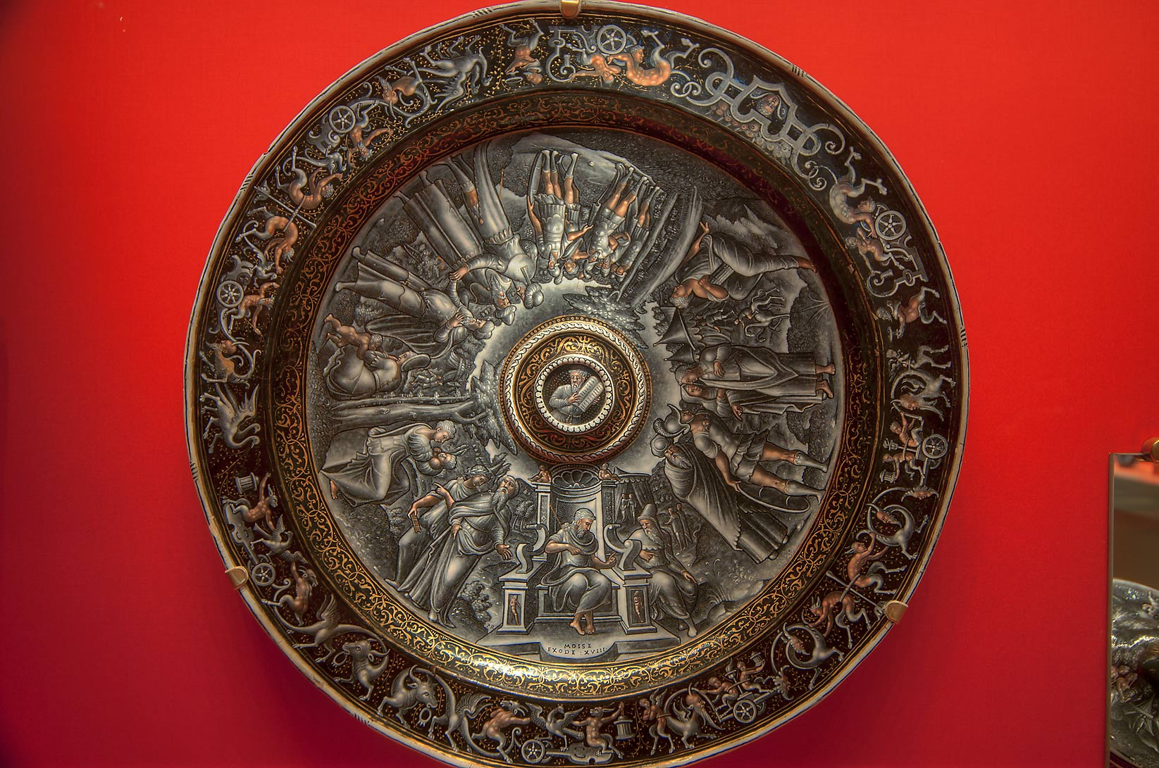 Decorated dish in Hermitage Museum. St.Petersburg, Russia
