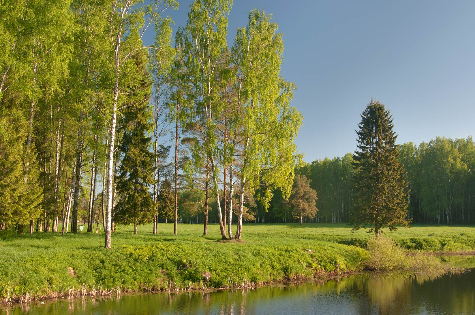Slavyanka River in Pavlovsk Park, south from St.Petersburg. Russia