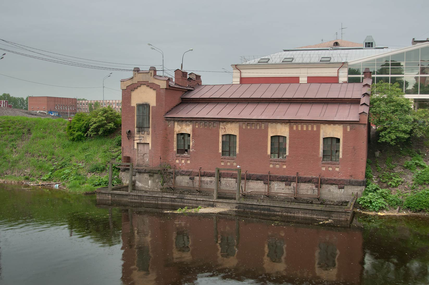 Old pumping station for electric power station of...River. St.Petersburg, Russia