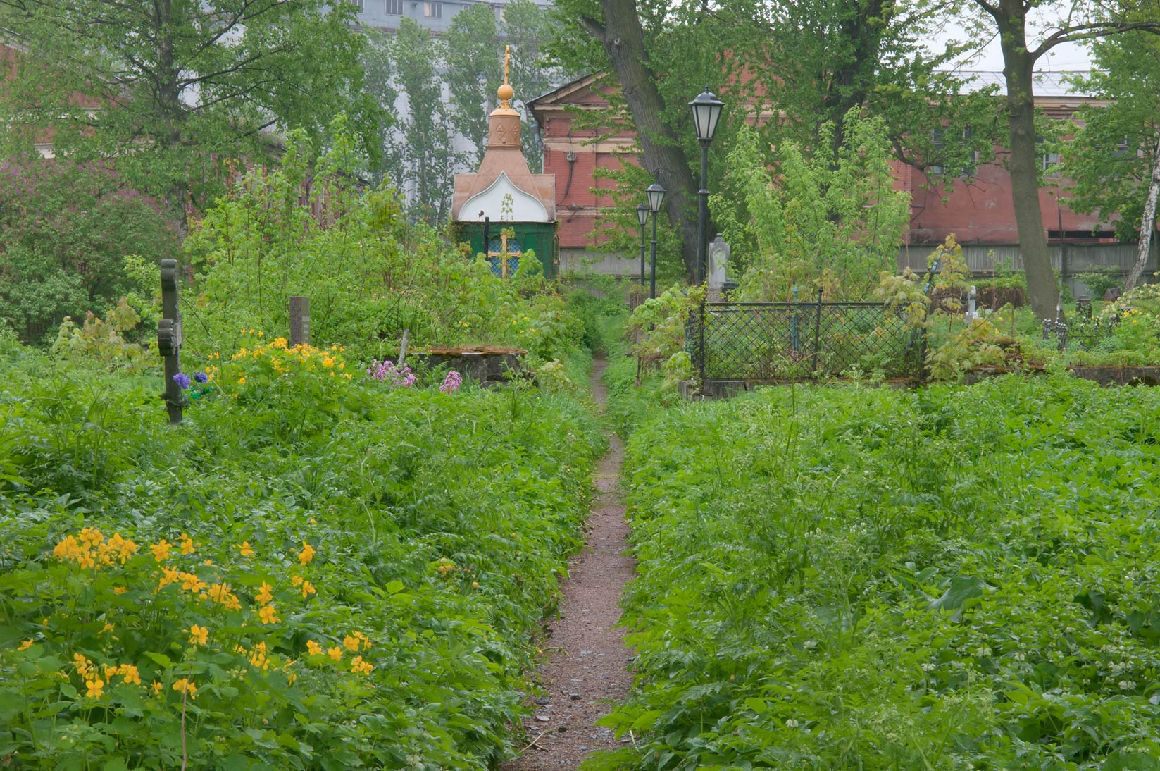 A path in Nikolskoe Cemetery of Alexander Nevsky Lavra. St.Petersburg, Russia