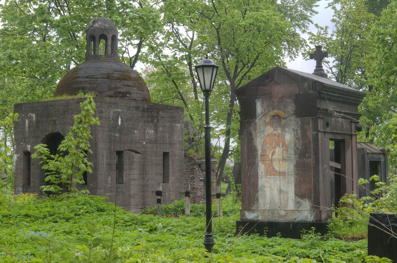 Mausoleums in Nikolskoe Cemetery of Alexander Nevsky Lavra. St.Petersburg, Russia