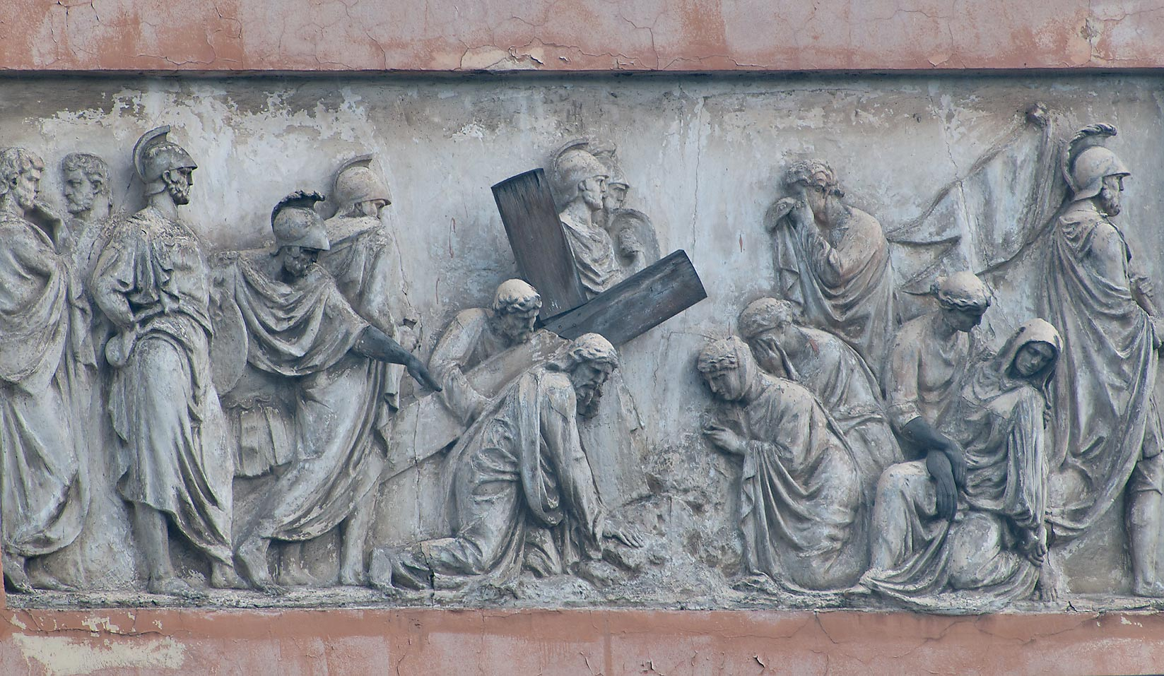 Scene from Bible at the top of a building, near Griboedova Canal. St.Petersburg, Russia