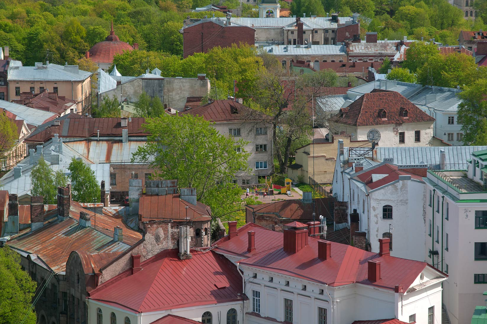 Area of Old City from St.Olaf Tower of Vyborg Castle. Vyborg, Russia