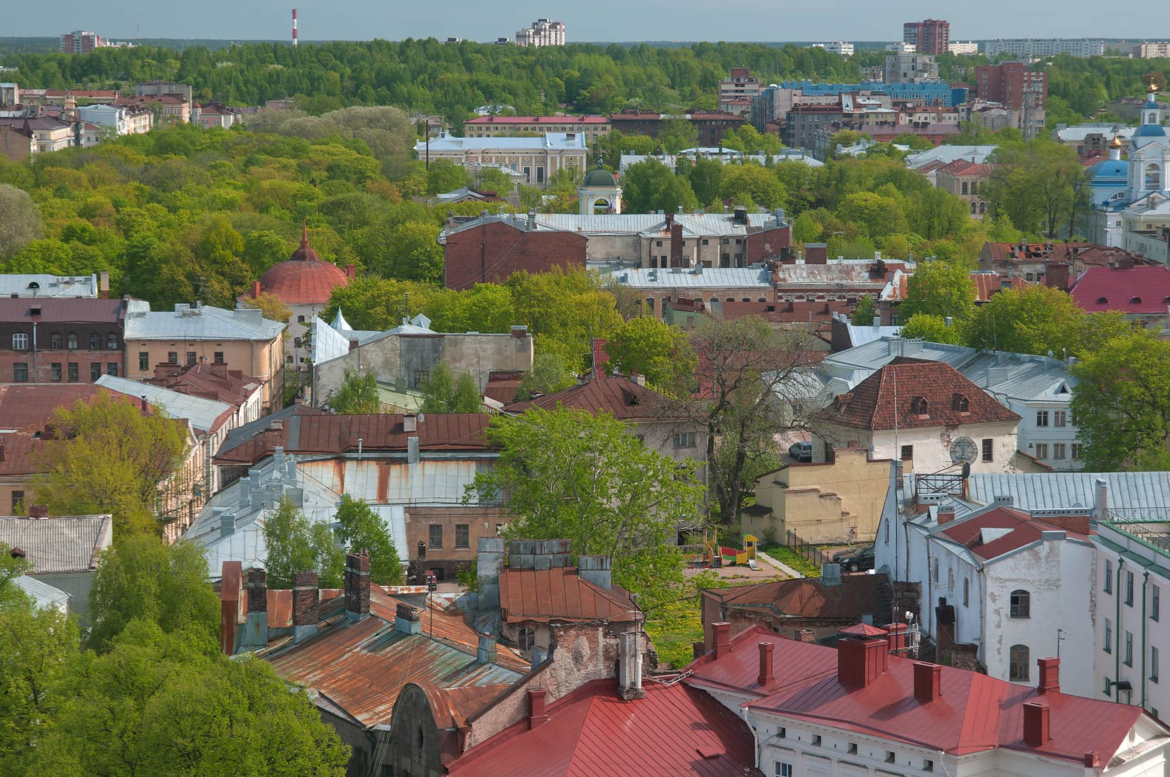 City view from St.Olaf Tower of Vyborg Castle. Vyborg, Russia