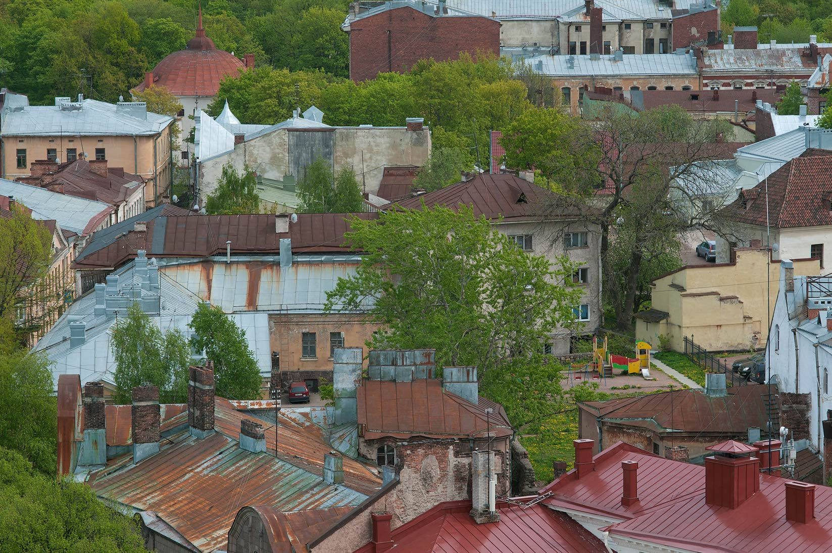 Roofs of Old City from St.Olaf Tower of Vyborg Castle. Vyborg, Russia