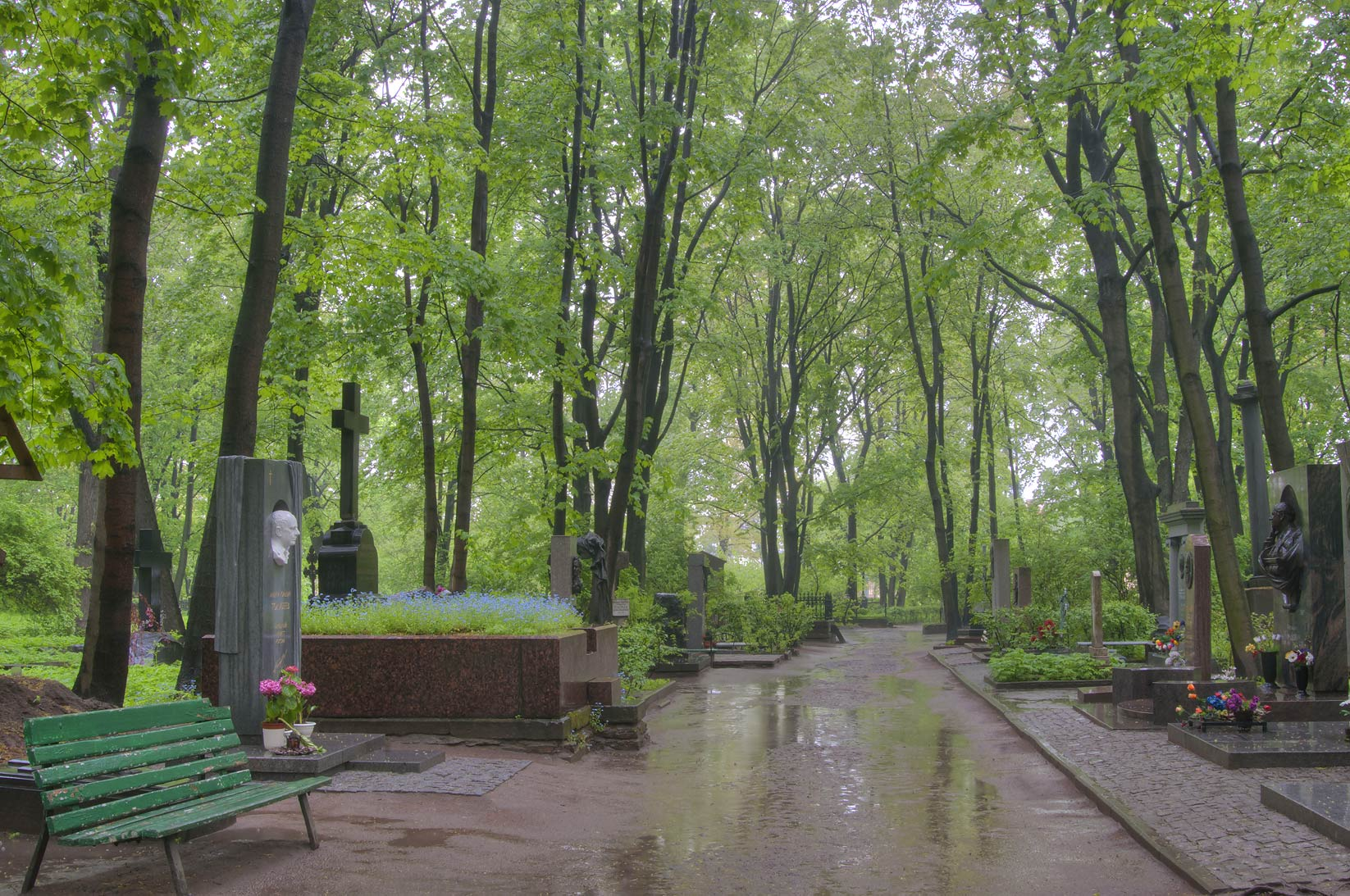 Rain in Literatorskiye Mostki section of Volkovo Cemetery. St.Petersburg, Russia
