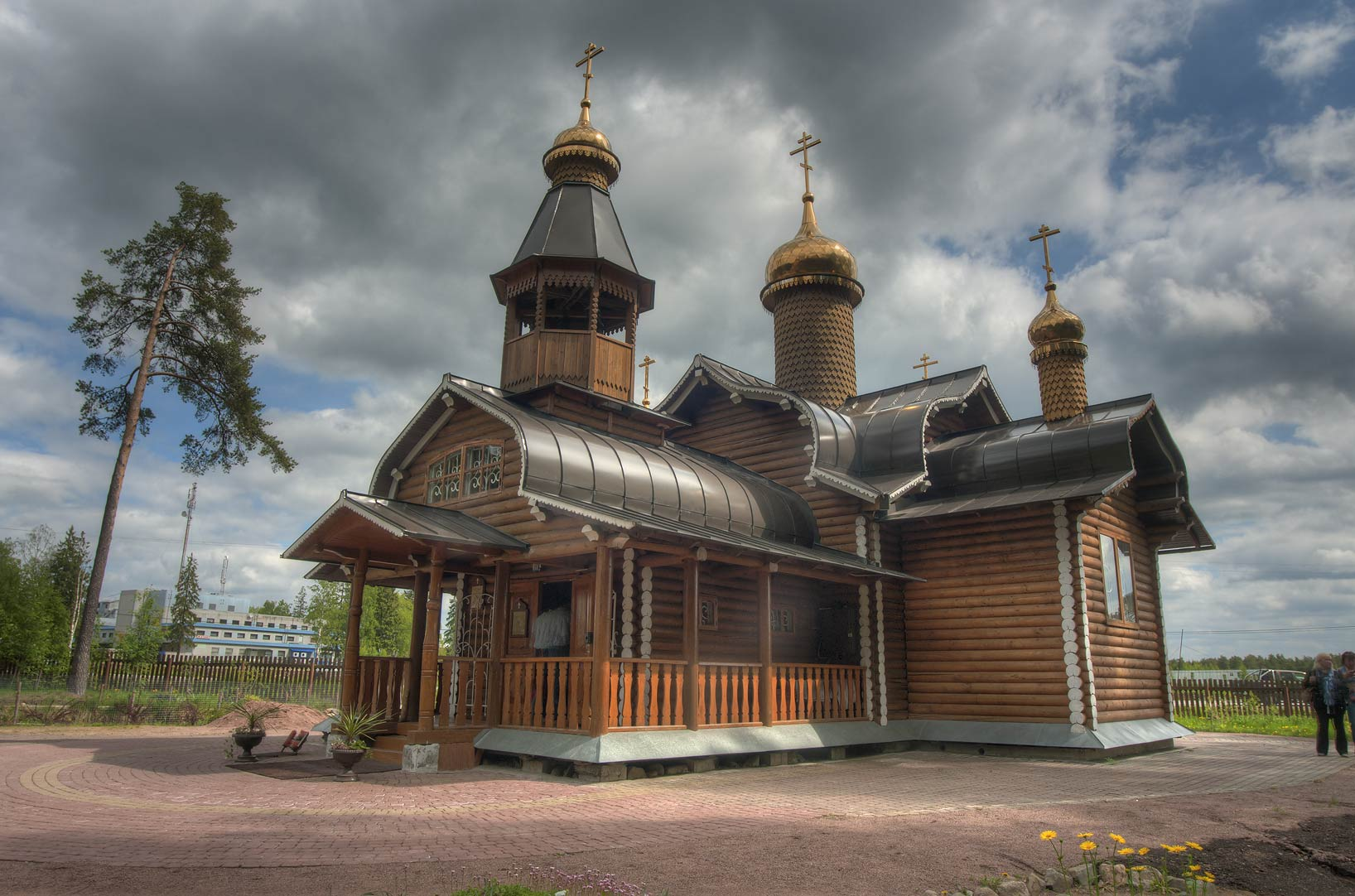 Recently built wooden Orthodox Christian church...North from St.Petersburg, Russia