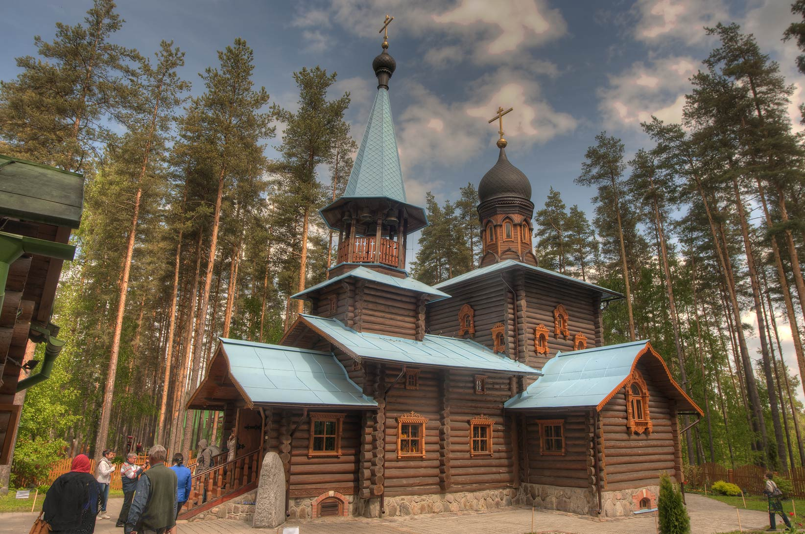 Wooden Orthodox Christian church in Sapiornoe...North from St.Petersburg, Russia