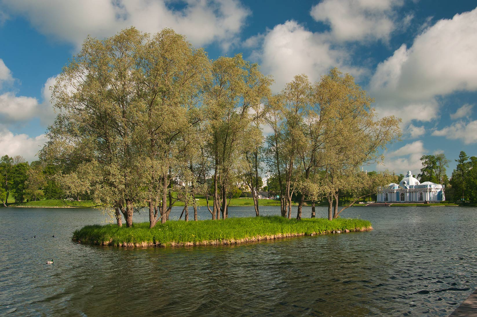 Grand Pond with Great Weir Island in...south from St.Petersburg, Russia