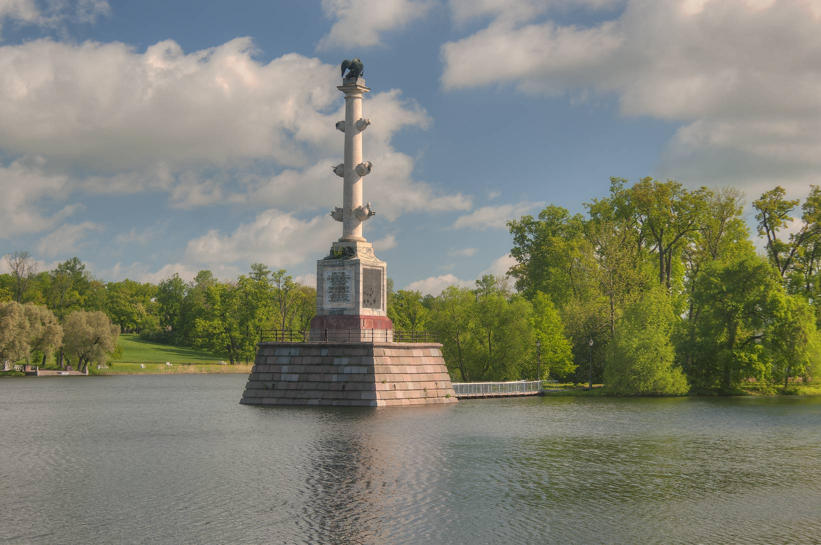 Grand Pond and Chesme Column in Ekaterininsky...south from St.Petersburg, Russia