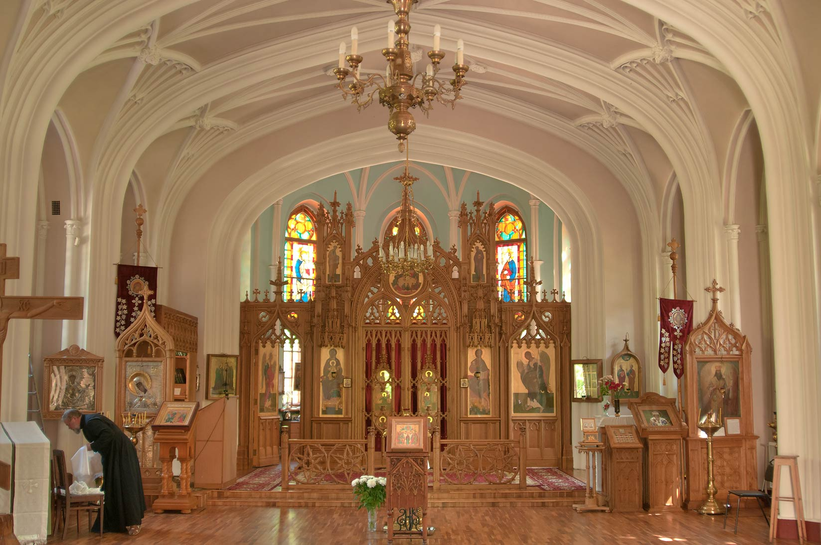 Interior of a Gothic church of Peter and Paul in Shuvalovo Park. St.Petersburg, Russia