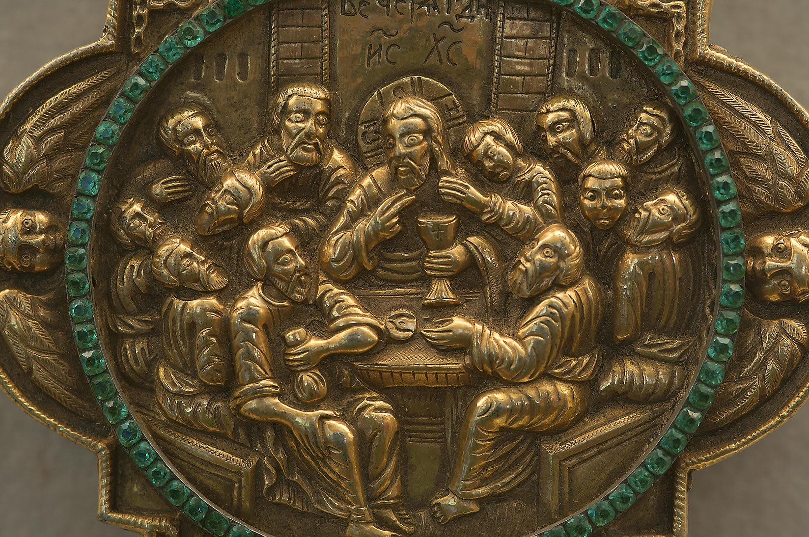 Scene from Bible on brass in Hermitage Museum. St.Petersburg, Russia