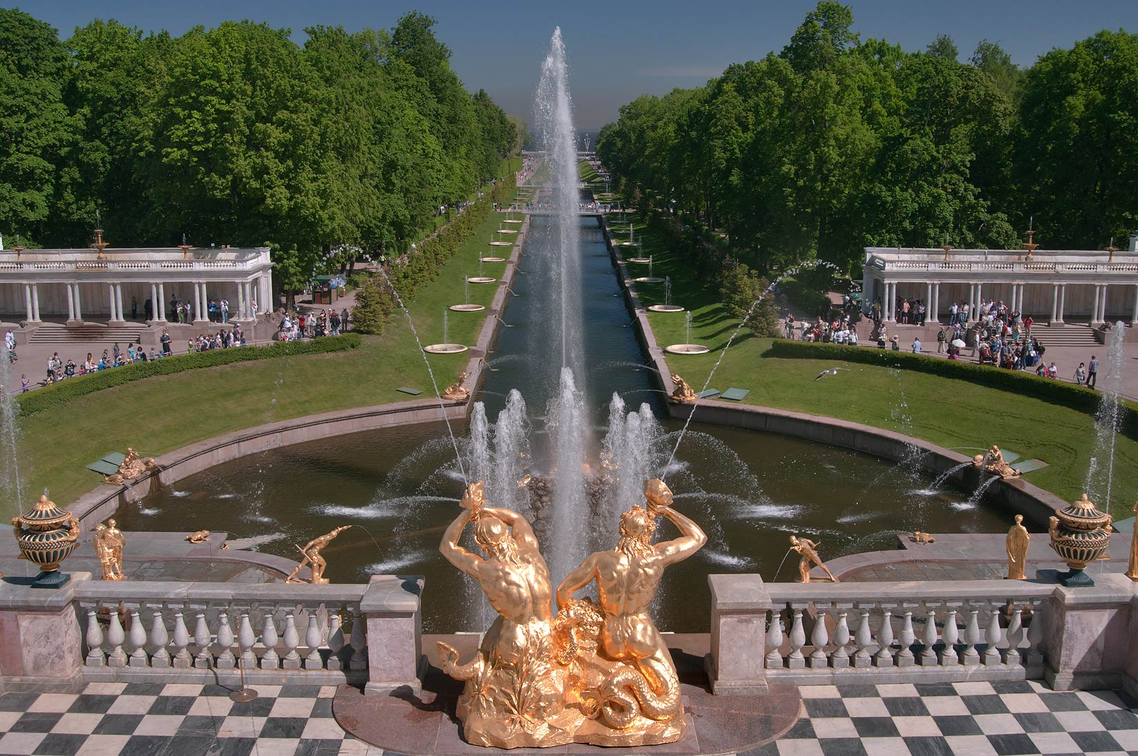 Grand Cascade of fountains and canal in Peterhof, west from St.Petersburg. Russia