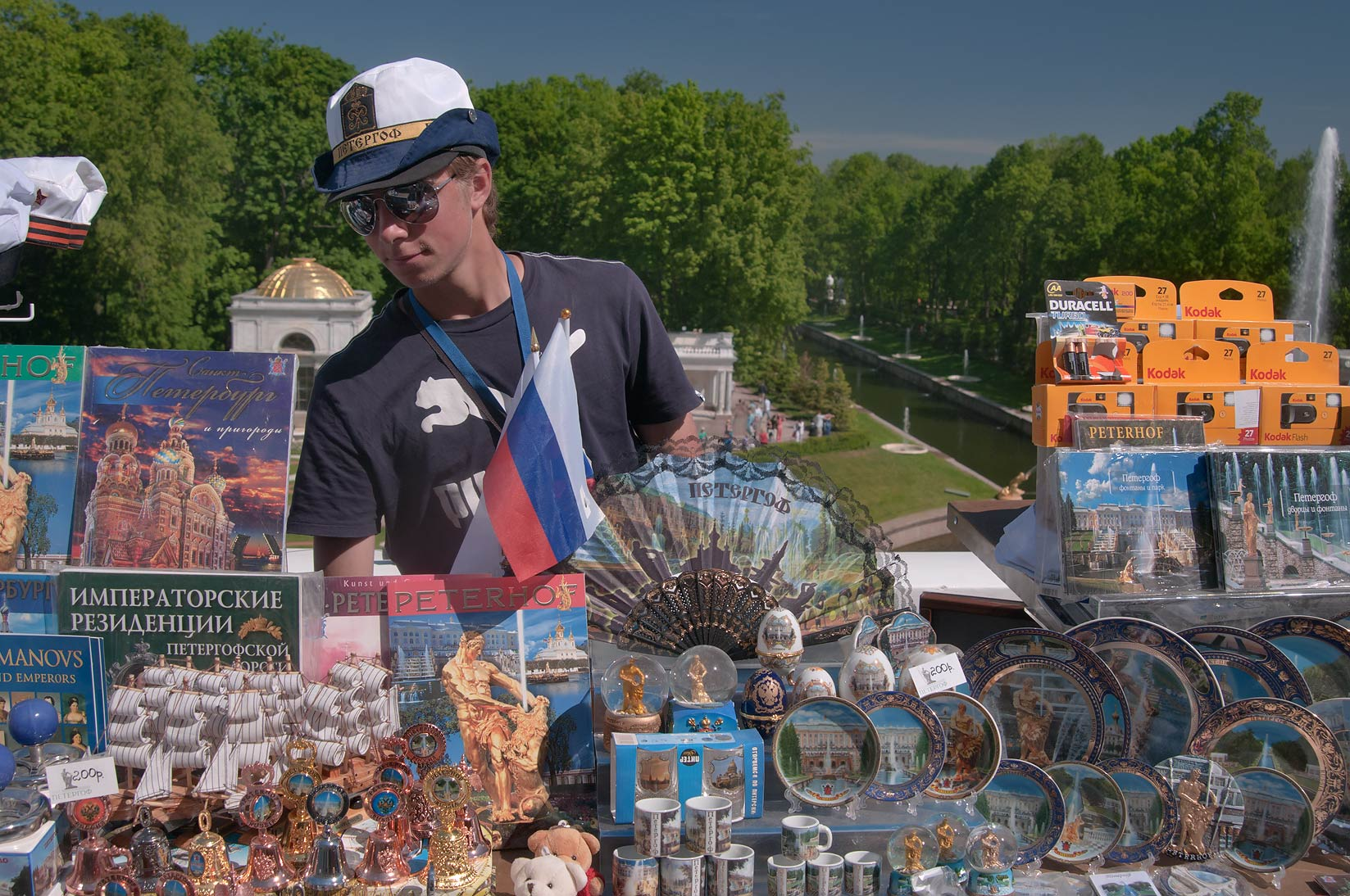 Souvenir stand at Grand Cascade of fountains in Peterhof, west from St.Petersburg. Russia