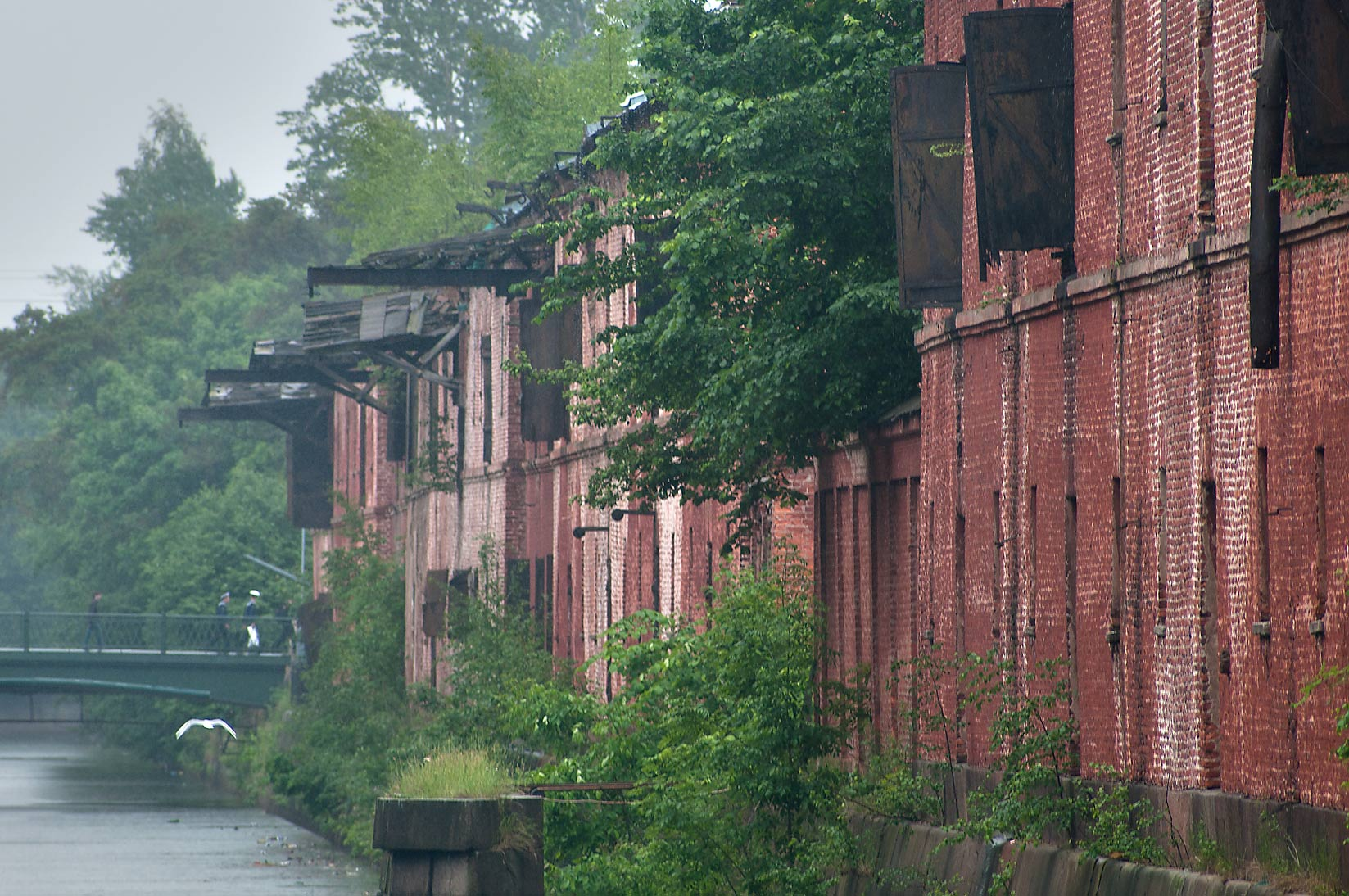 Old warehouses on Obvodny Canal in Kronstadt. St.Petersburg, Russia
