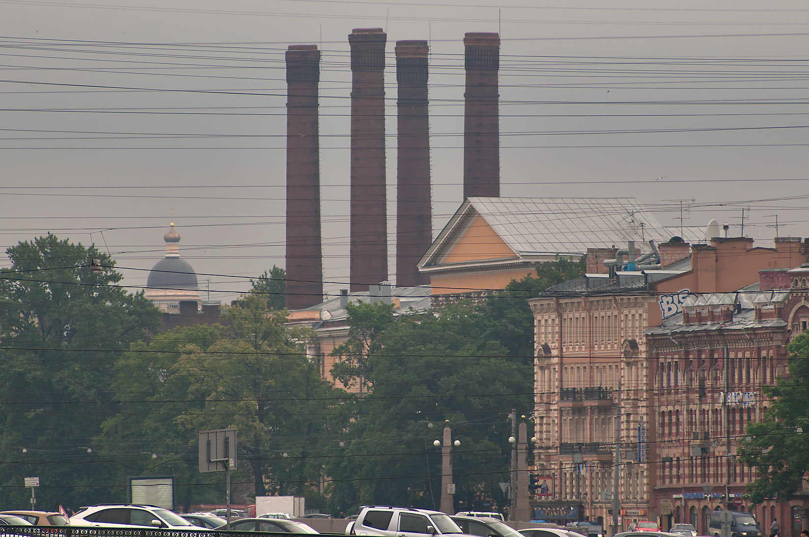 Smokestacks near Griboedova Canal. St.Petersburg, Russia