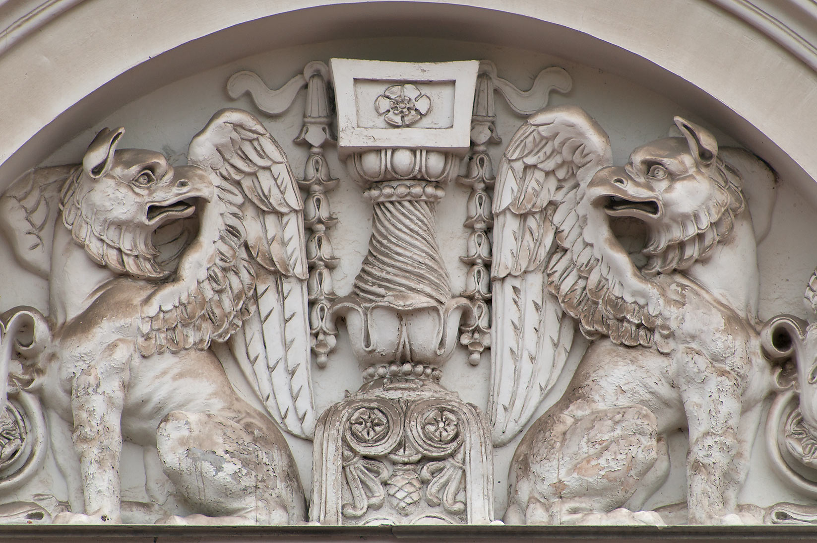 Figures of winged animals at the top of Russian Museum. St.Petersburg, Russia