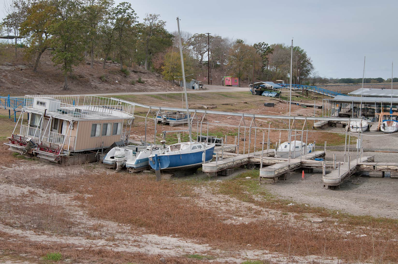 Marina at Lake Somerville, with low water level. Texas