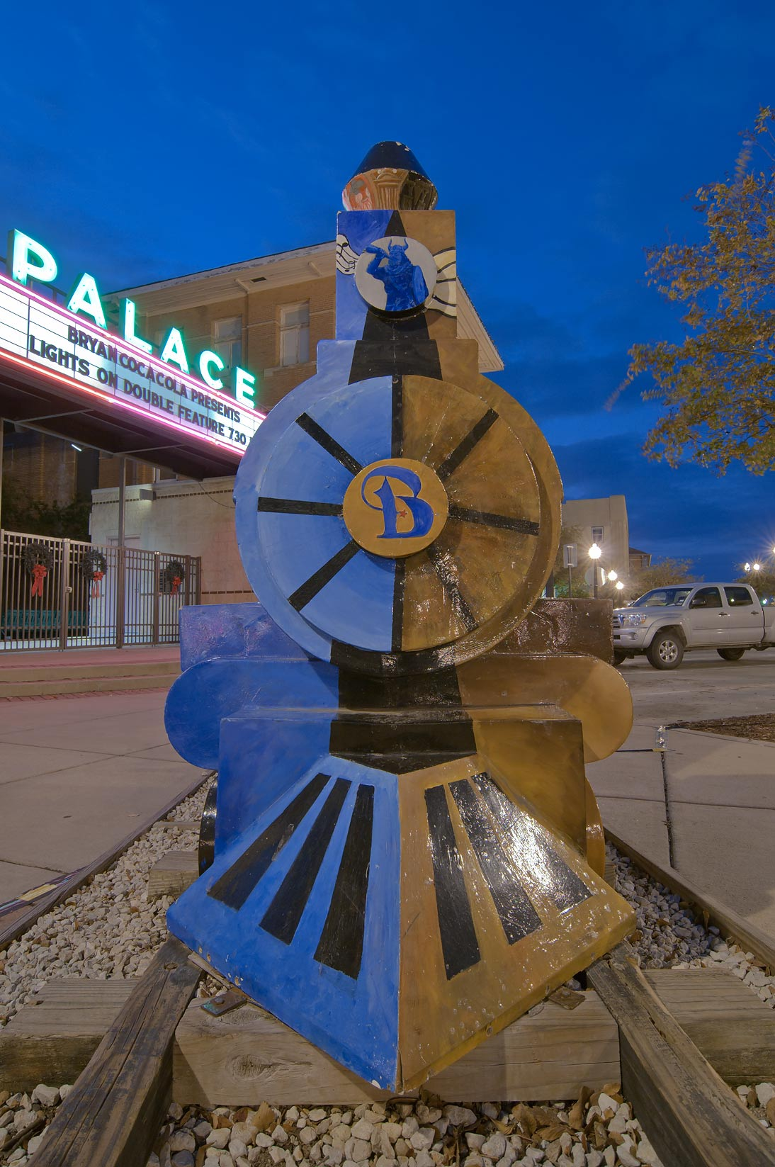 Movie theater and a model of a train on Main St.. Bryan, Texas