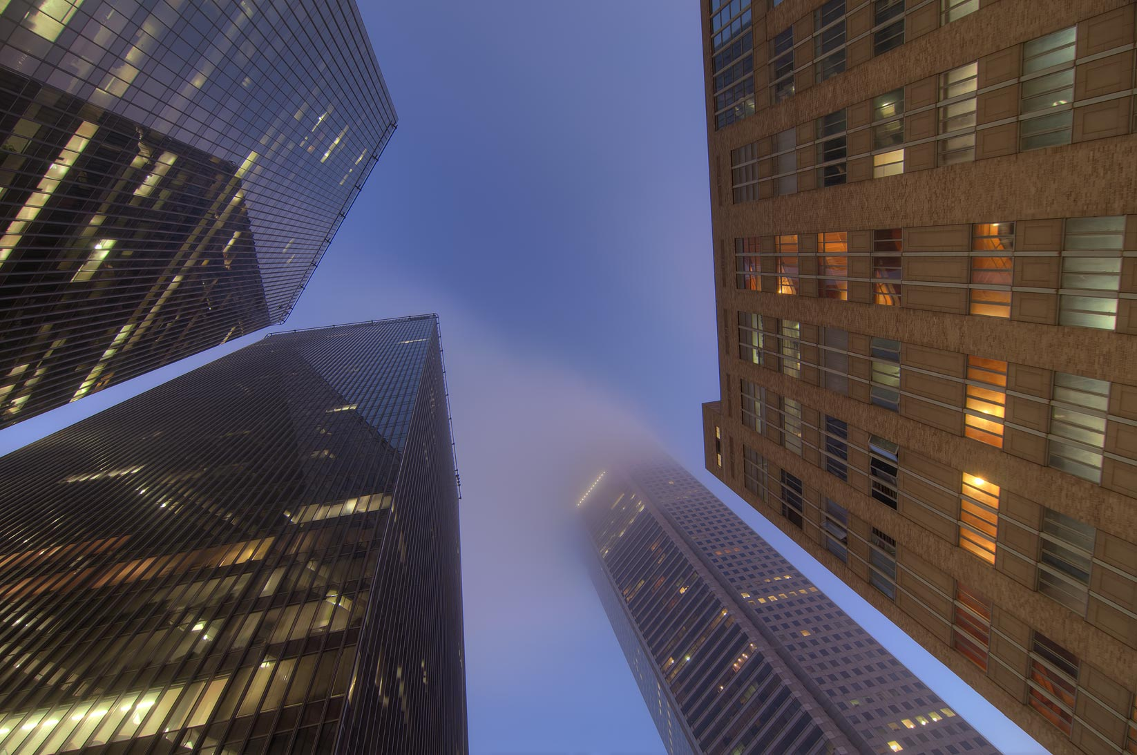 Pennzoil Place and JP Morgan Chase Tower at morning. Houston, Texas
