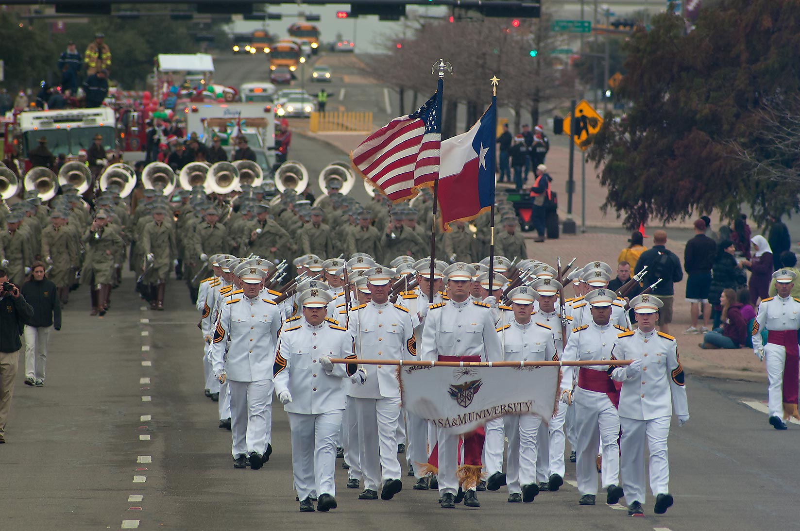 Christmas Parade on University Dr.. College Station, Texas