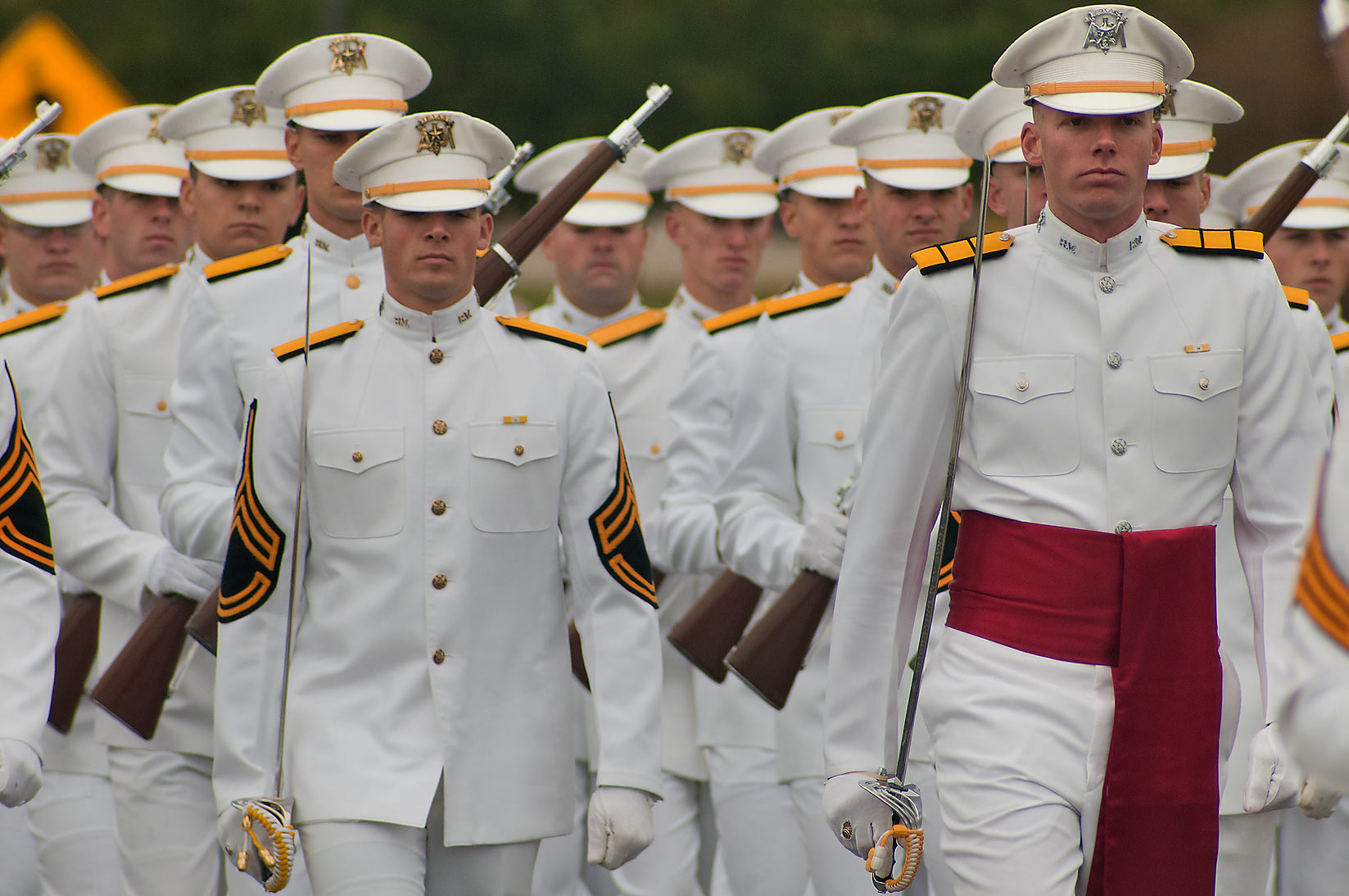 Marching cadets of Texas A&M University...University Dr.. College Station, Texas