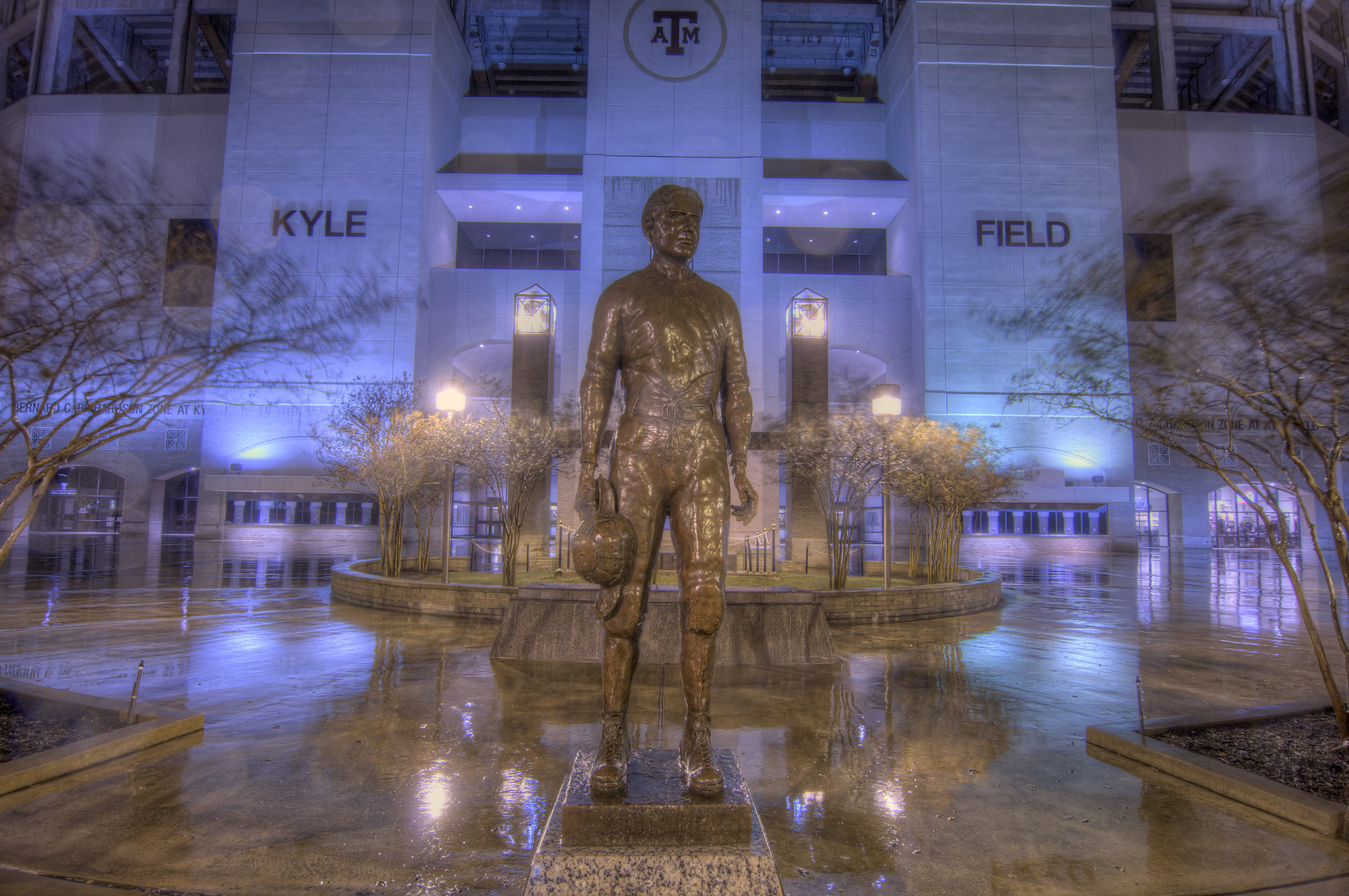 "Twelfth Man, E. King Gill statue (George E. ""Pat...at rain. College Station, Texas"