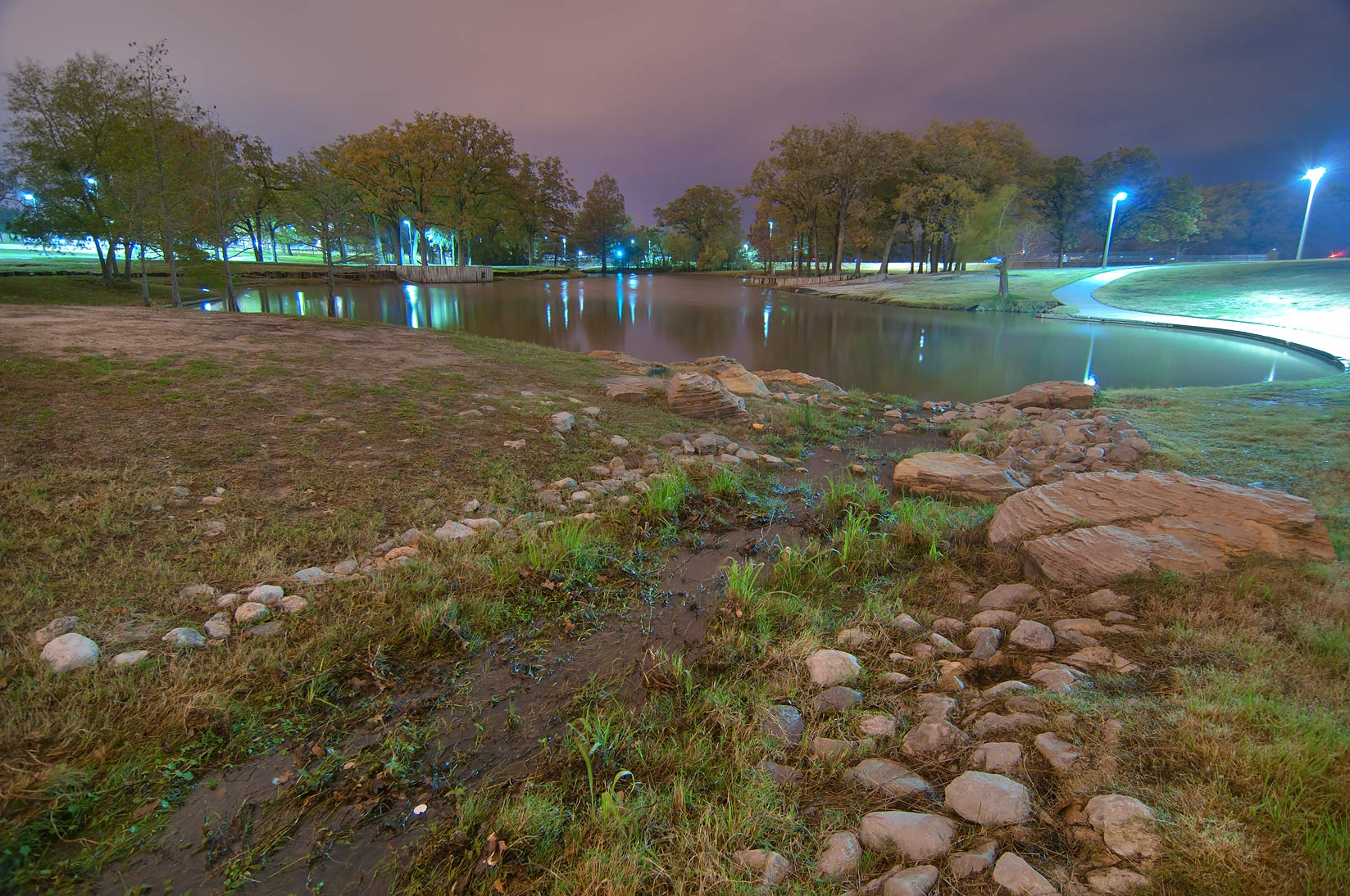 Ponds of Research Park on campus of Texas A&M...at rain. College Station, Texas