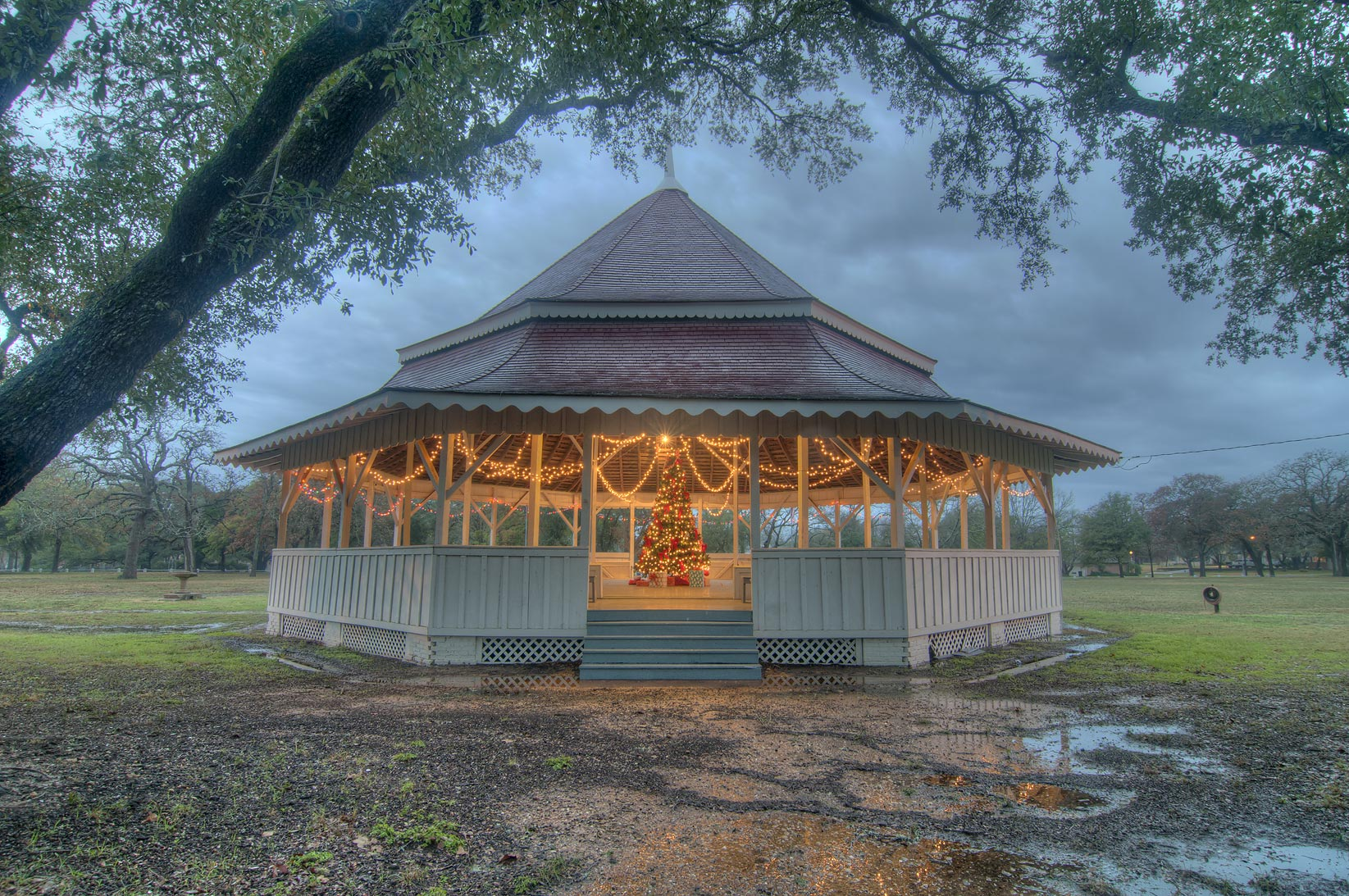 Virginia Field Park, with gazebo-style octogonal pavillion. Calvert, Texas