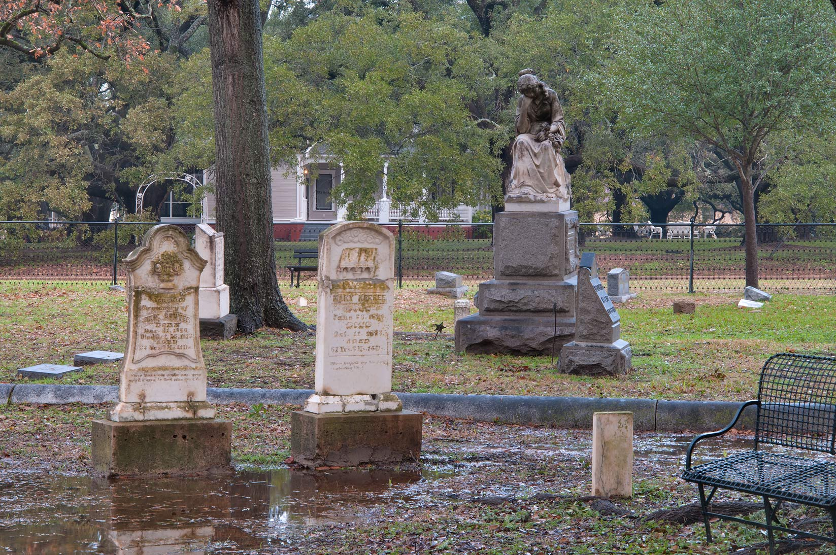 Tombs of Calvert Cemetery at rain. Calvert, Texas