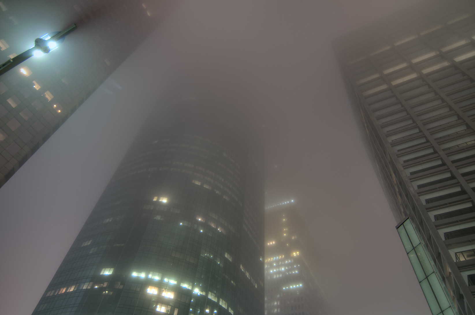 Area of Louisiana St. in downtown in fog. Houston, Texas
