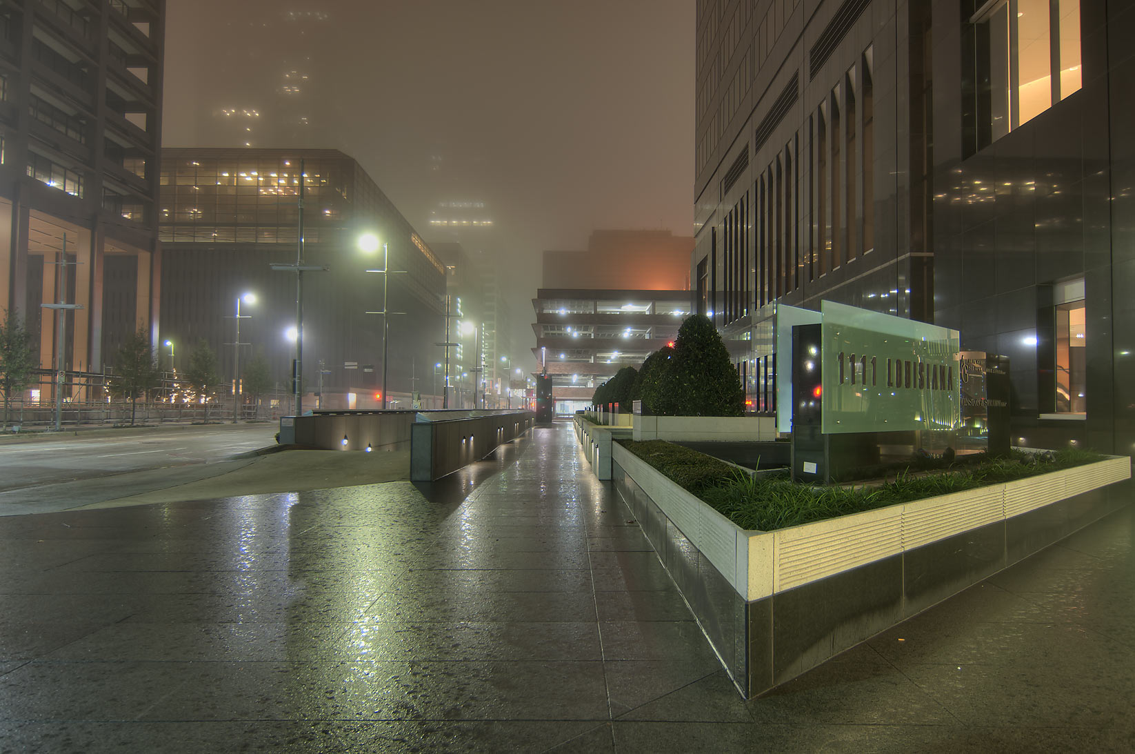 1111 Louisiana St. in downtown in fog. Houston, Texas