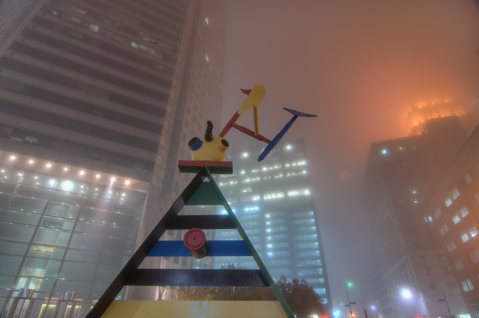 Area of JP Morgan Chase Tower in downtown in fog. Houston, Texas