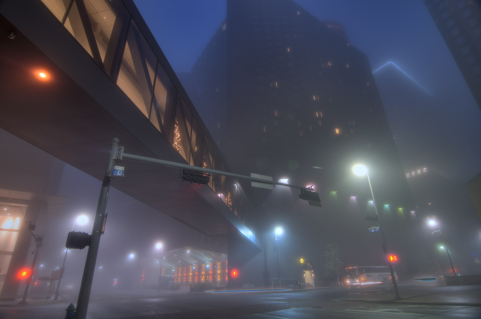 Street overpass in downtown at morning in fog. Houston, Texas