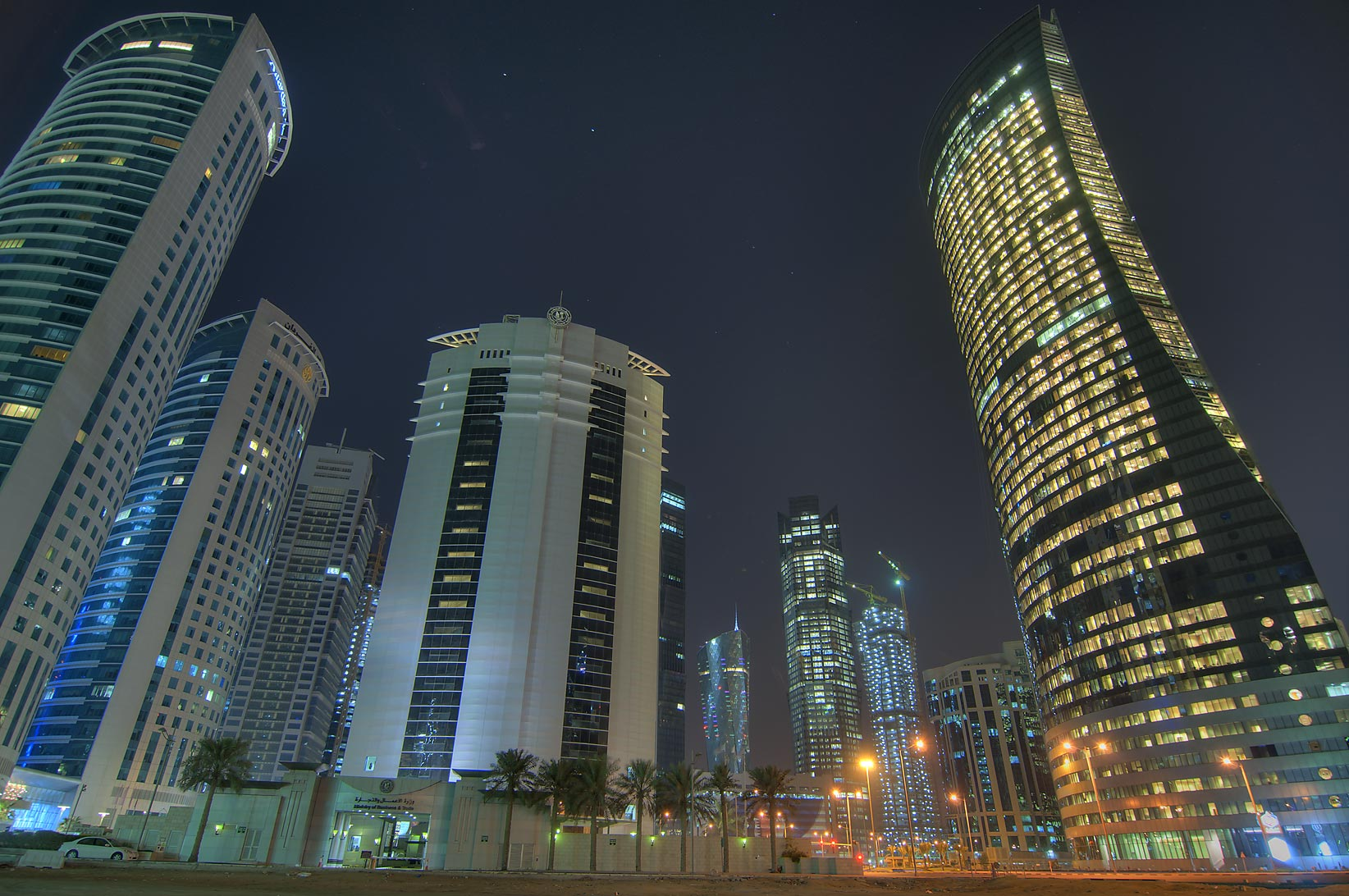 Al Fardan, Ministry of Commerce, and Navigation towers in West Bay. Doha, Qatar