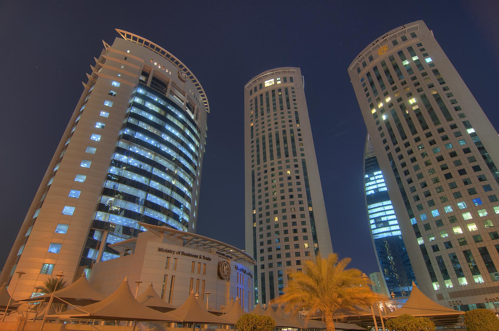 Ministry of Commerce and Al Fardan towers in West Bay. Doha, Qatar