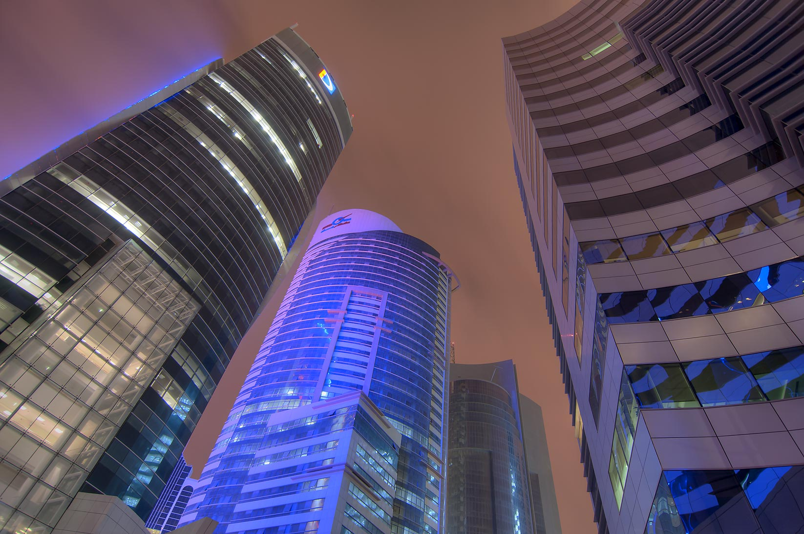 Doha Bank, Ramez, and Ashghal towers in West Bay. Doha, Qatar