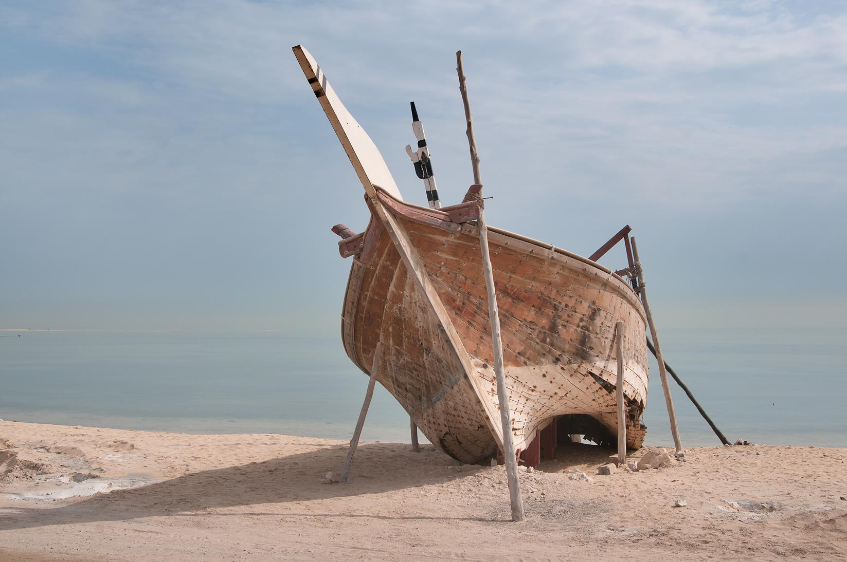 Beached dhow fishing boat. Al Wakrah, Qatar