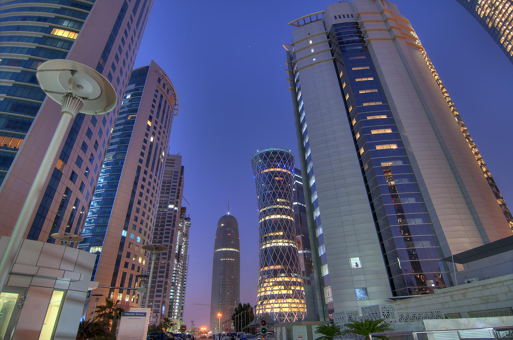 Parking of Al Fardan towers in West Bay. Doha, Qatar