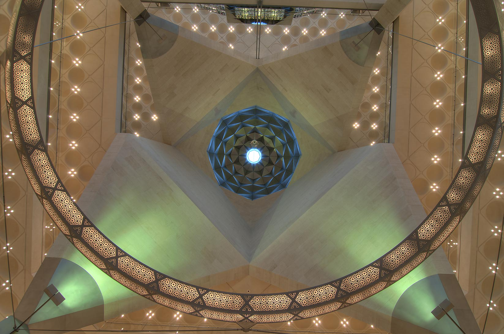 Faceted dome of Museum of Islamic Art with an oculus. Doha, Qatar